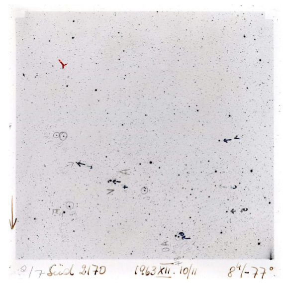 An example of a photographic plate from one of the telescopes used in the 1943 61 Cygni study.