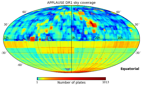 APPLAUSE DR1 sky coverage (equatorial)