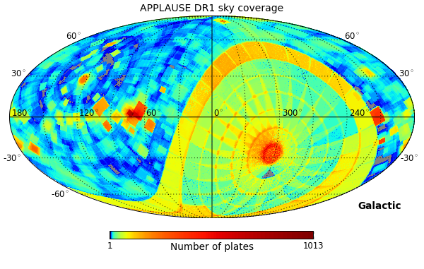 APPLAUSE DR1 sky coverage (galactic)