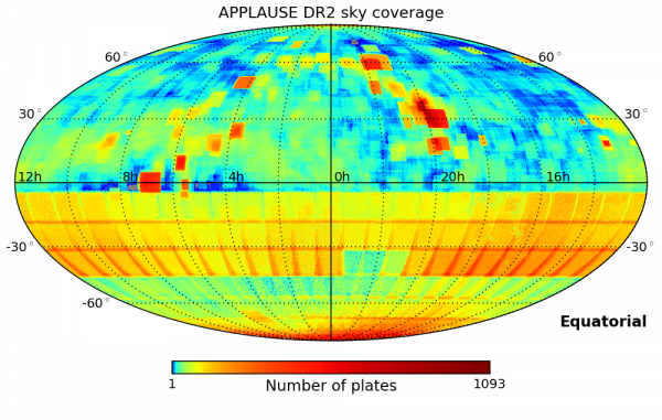 APPLAUSE DR2 sky coverage (equatorial)